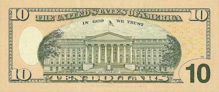 2009 10 Dollar Bill Reverse