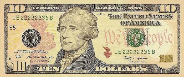 2009 10 Dollar Bill