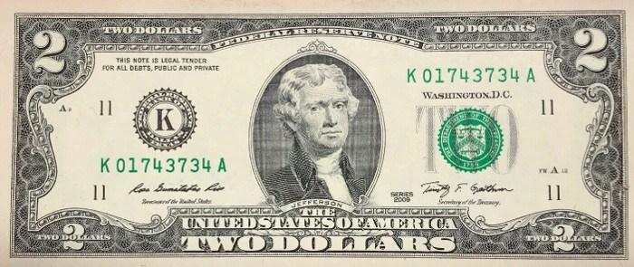 2009 2 Dollar Bill