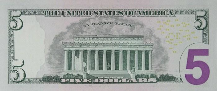2009 5 Dollar Bill Reverse