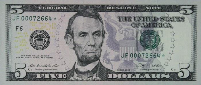 2009 5 Dollar Bill