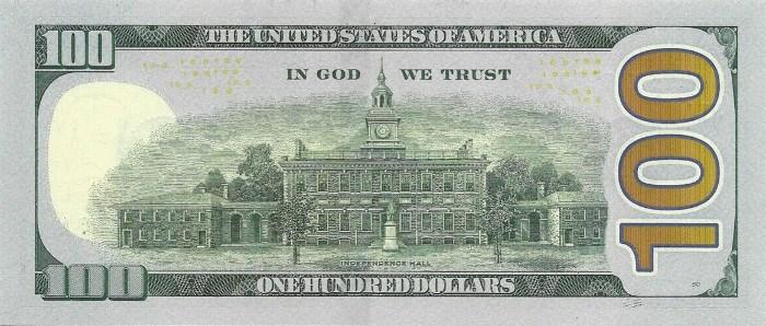 2009 Series 100 Dollar Bill Reverse