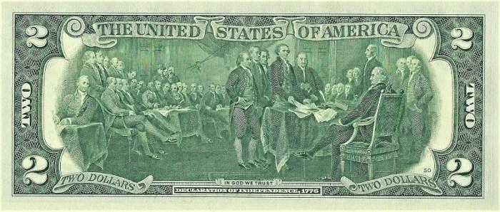 2013 2 Dollar Bill Reverse