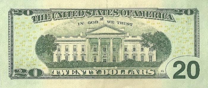 2013 20 Dollar Bill Reverse