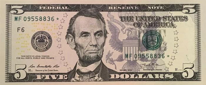 2013 5 Dollar Bill