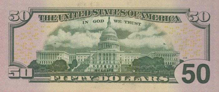 2013 50 Dollar Bill Reverse