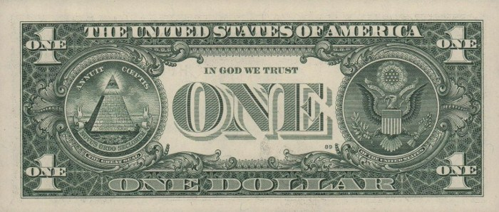 2013 One Dollar Bill Reverse