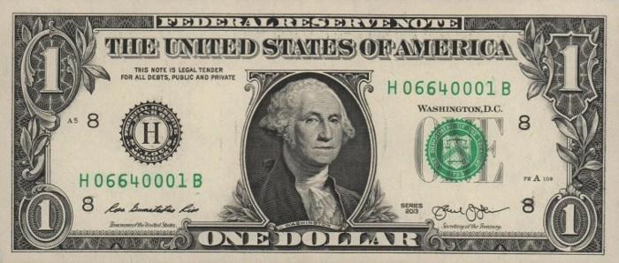 2013 One Dollar Bill
