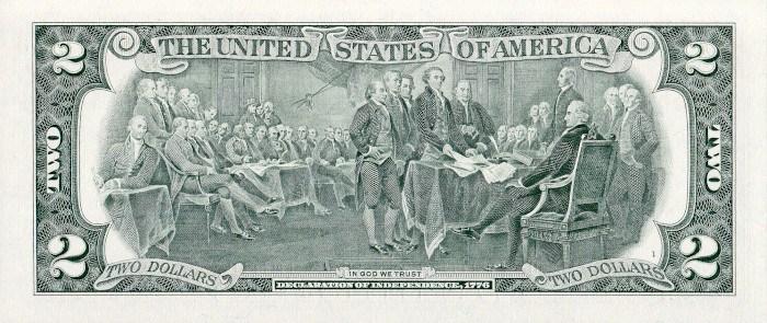 2017 2 Dollar Bill Reverse