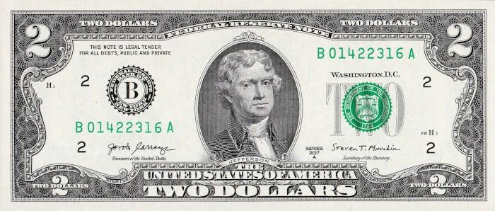 2017 2 Dollar Bill