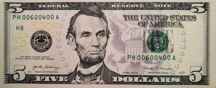 2017 5 Dollar Bill