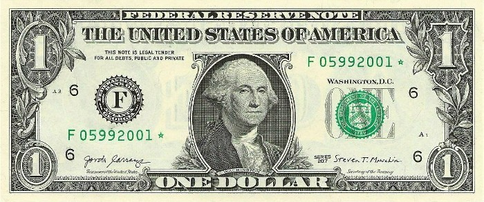 2017 One Dollar Bill