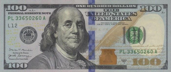 2017 Series 100 Dollar Bill