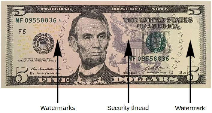 5 Dollar Bill Security Features