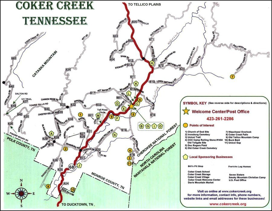 Coker Creek Tennessee Map