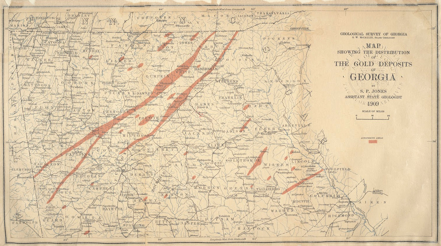 Georgia Gold Deposit Map
