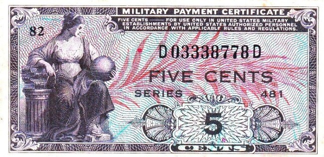Military Payment Certificate Series 481 5 Cent Note