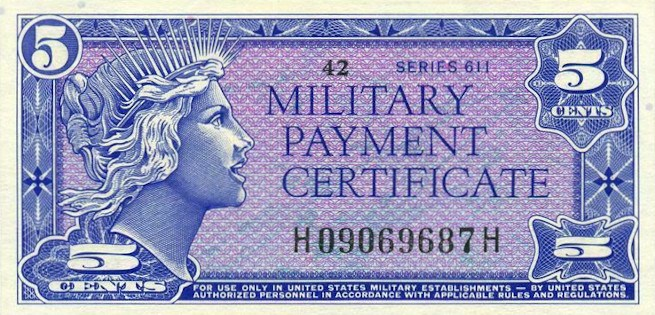 Military Payment Certificate Series 611 5 Cent Note