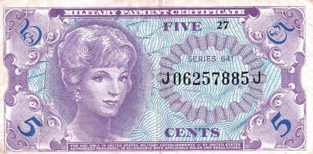 Military Payment Certificate Series 641 5 Cent Note