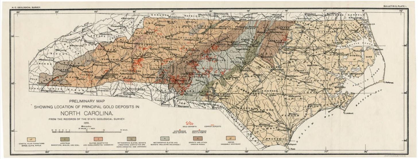 North Carolina Gold Map