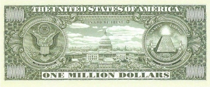 One Million Dollar Bill Reverse