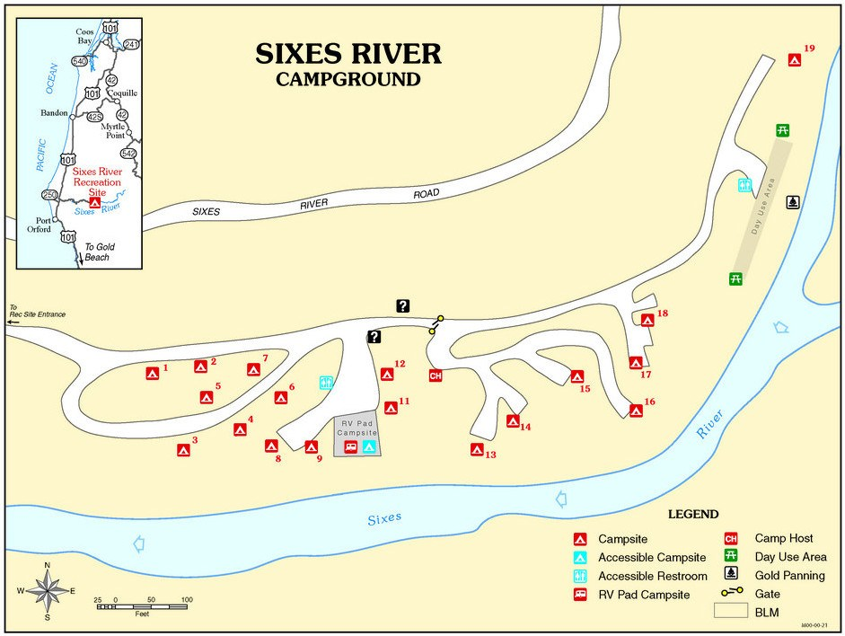 Sixes River Campground Map