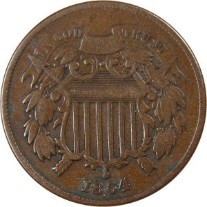 1864 2 Cent Coin