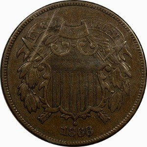 1868 2 Cent Coin