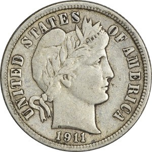 1911 US Barber silver Dime in Good Condition Price per Each Coin