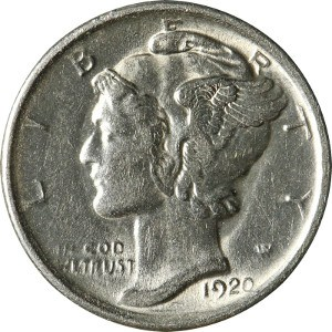 Very Good Silver Mercury Dime 1920 US