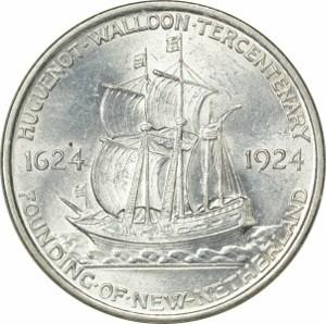 1924 Huguenot Half Dollar Reverse