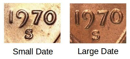 1970 S Penny Small Date vs Large Date