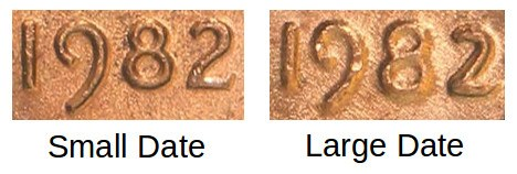 1982 Penny Small Date vs Large Date