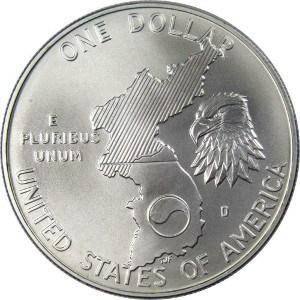 1991 Korean War Memorial Silver Dollar Reverse