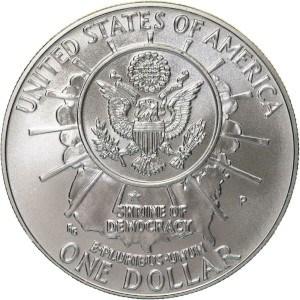 1991 Mount Rushmore Silver Dollar Reverse