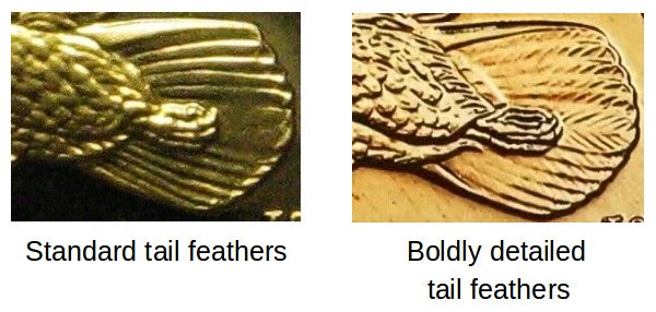 Standard Feathers vs Boldly Detailed Tail Feathers